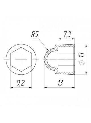 Колпачок на болт/гайку М6 под ключ S10