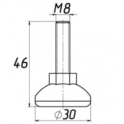 Опора регулируемая под М8 D30M8L46