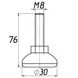 Опора регулируемая под М8 D30M8L76