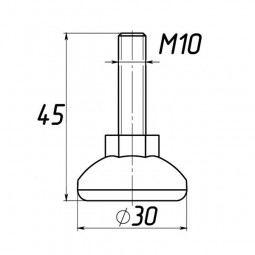 Опора регулируемая под М10 D30M10L45