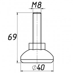 Опора регулируемая под М8 D40M8L69