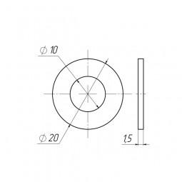 Шайба пластиковая D10x20 толщина 1.5 мм