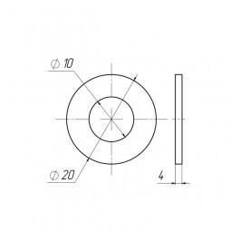 Шайба пластиковая D10x20 толщина 4 мм