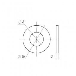 Шайба пластиковая D8x16 толщина 2 мм