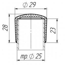 Наружная заглушка 25 мм черная