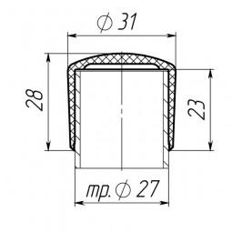 Наружная заглушка 27 мм серая