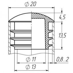 Заглушка на трубу круглая 20 мм линза черная
