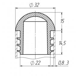 Заглушка круглая 32 мм сфера черная