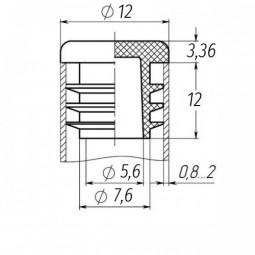 Заглушка на трубу круглая 12 мм черная