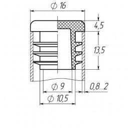 Заглушка на трубу круглая 16 мм черная