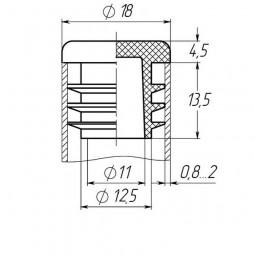 Заглушка на трубу круглая 18 мм черная