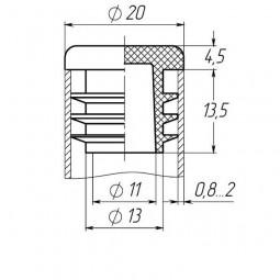Заглушка на трубу круглая 20 мм черная