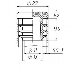Заглушка на трубу круглая 22 мм черная