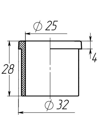 Заглушка втулка 32*25 мм черная