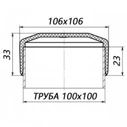 Наружная заглушка на трубу 100x100
