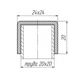 Наружная заглушка на трубу 20x20 черная