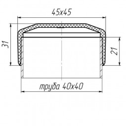 Наружная заглушка на трубу 40x40 черная