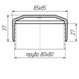 Наружная заглушка на трубу 80x80 черная