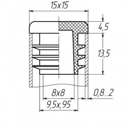Заглушка для трубы 15x15 плоская черная