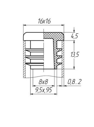 Заглушка для трубы 16x16 плоская черная