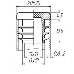 Заглушка для трубы 20x20 плоская черная
