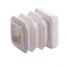 Заглушка для трубы 20x20 плоская белая