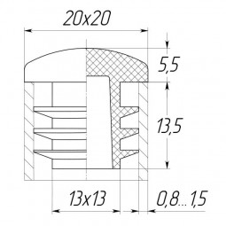 Заглушка для трубы 20x20 сфера черная