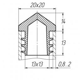 Заглушка для трубы 20x20 пирамида