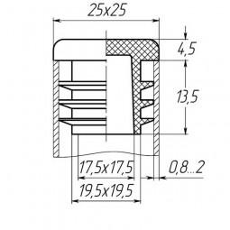 Заглушка для трубы 25x25 плоская черная