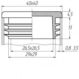 Заглушка для трубы 40x40 плоская черная