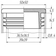 Заглушка для трубы 50x50 плоская серая