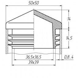 Заглушка для трубы 50x50 пирамида черная