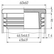 Заглушка для  трубы 60*60 внутренняя белая