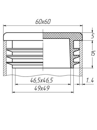 Заглушка для трубы 60x60 плоская черная
