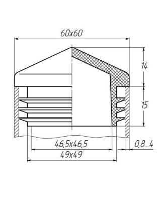 Заглушка для трубы 60x60 пирамида черная