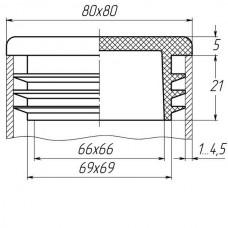 Заглушка для трубы 80х80 плоская серая