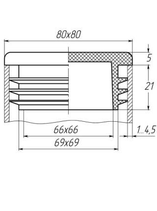 Заглушка для трубы 80х80 плоская черная