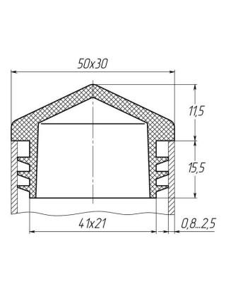 Заглушка для трубы 30x50 пирамида черная