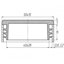 Заглушка для трубы 35x50 плоская черная