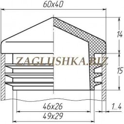 Заглушка для трубы 40x60 пирамида черная