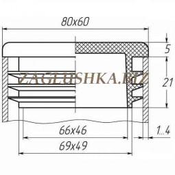 Заглушка для трубы 60х80 плоская черная